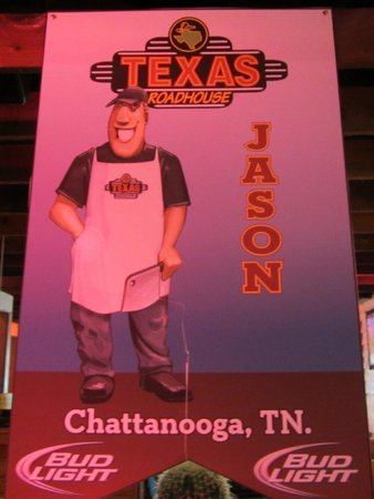 """Texas Roadhouse: Good Luck Jason """"Hawaii Contest""""  This is the head butcher at this restaurant"""