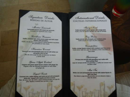 Bar Menu Picture Of Secrets The Vine Cancun Cancun Tripadvisor