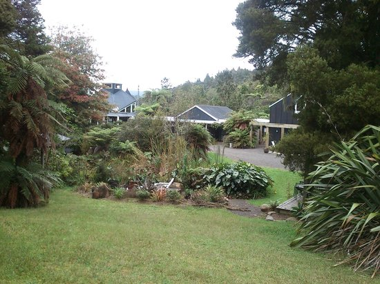 Wairua Lodge - Rainforest River Retreat: Looking across the pond and brazier area towards rooms
