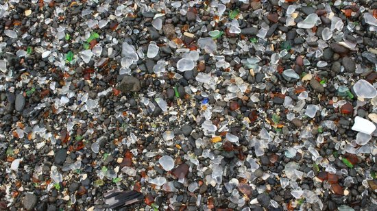 What's left of the glass at Glass Beach