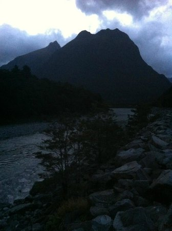 The river in front of our room Milford Sound Lodge