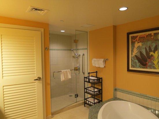 Grand Waikikian by Hilton Grand Vacations: マスターベッドルームのバス・シャワー