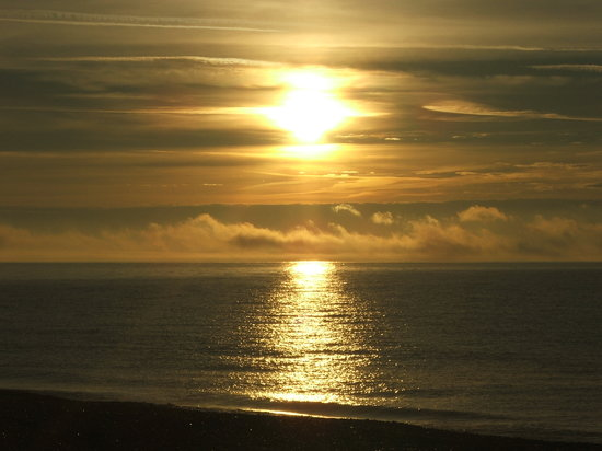 The Beach Rooms: Sunset over Lyme Bay