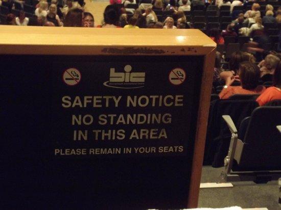 Bournemouth International Centre: No standing apparantely