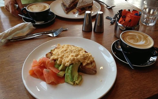 Post office cafe: Eggs and Smoked Salmon... Yum