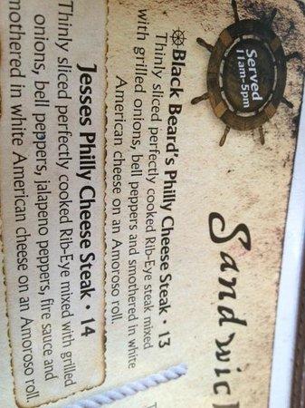 Captain Jack's Island Grill: menu