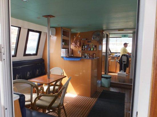 Luzzu Cruises: Refreshment area on board the cruise