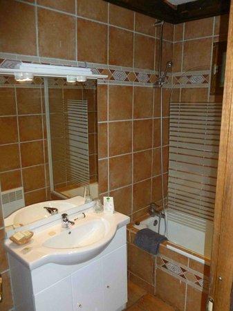 Hotel Restaurant Les Cedres : lavabo et baignoire