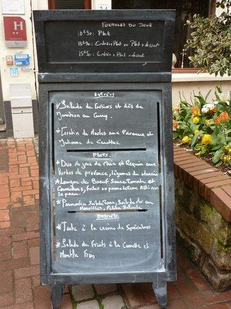 Hotel Restaurant L'Industrie : Menu board