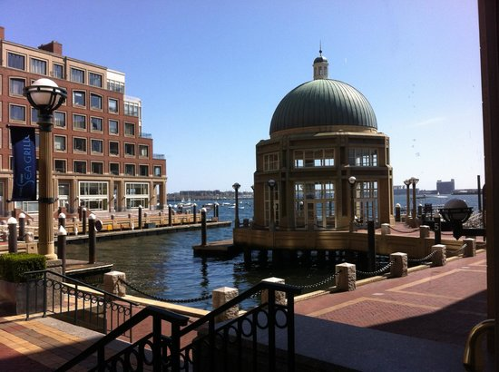 Looking out from the back of Boston Harbor Hotel