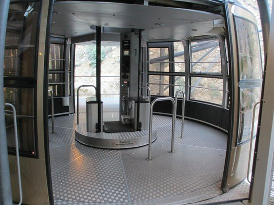 inside of tram car which rotates so everyone gets a view picture of palm springs aerial. Black Bedroom Furniture Sets. Home Design Ideas
