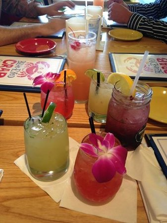 Blue-Eyed Crab Grille And Raw Bar: A very large list of tropical drinks.
