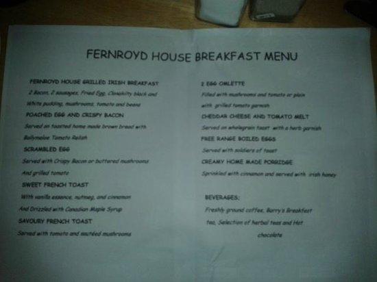Fernroyd House B&B: carte du petit déjeuner