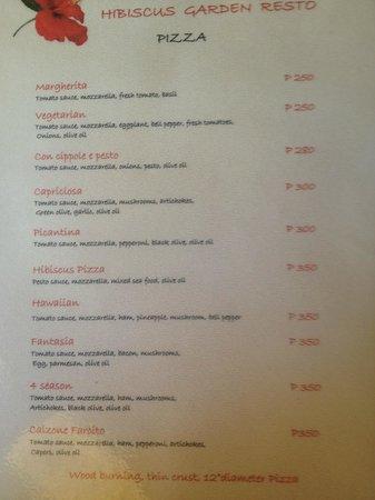 Hibiscus Pizzeria: Menu - Pizza