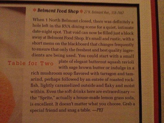 Belmont Food Shop: The article from the magazine