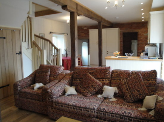 Shetton Barns : lounge and kitchen area in The Granary
