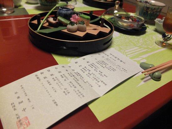 Gion Hatanaka: Dinner menu and first course
