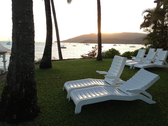 Coral Sea Resort: Sunchairs in front of resort.