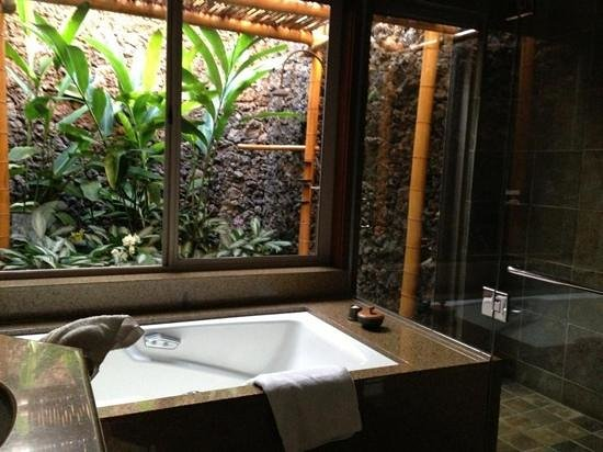Four Seasons Resort Hualalai: bath , shower and lava shower