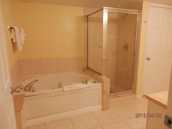 Silver Lake Resort: Bathroom with washing machine & dryer in cupboard