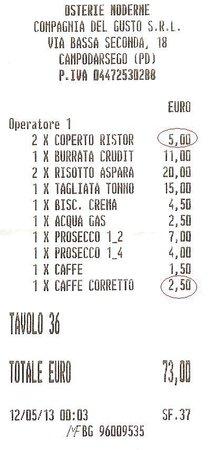 Campodarsego, İtalya: Scontrino Osterie Moderne