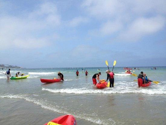Bike and Kayak - La Jolla : Staff helping girls back into short