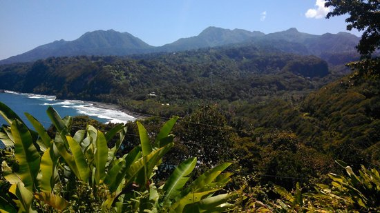 Rosalie Bay Resort: While hiking north of Rosalie Bay, (looking back at RB in the valley along the ocean)