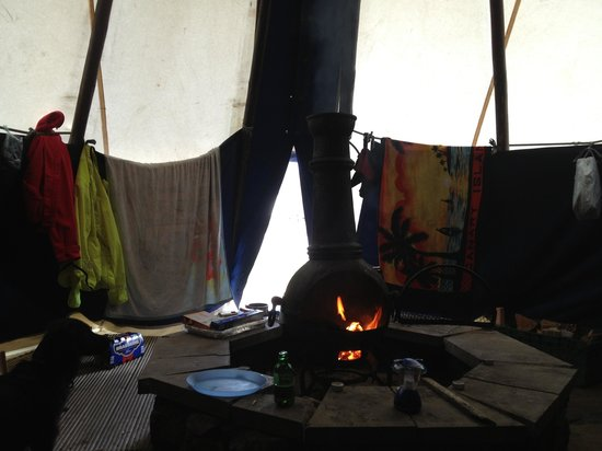 Galloway Activity Centre: Drying out in the tipi after a rainy days cycling!