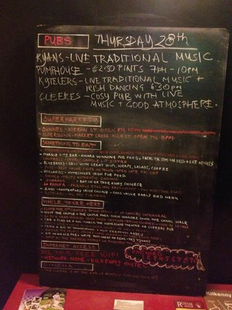 "Kilkenny Tourist Hostel: ""What to do today"" chalkboard"