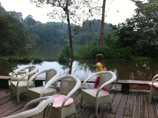 Hongzhu Shan Hotel : Terrace overlooking the lake