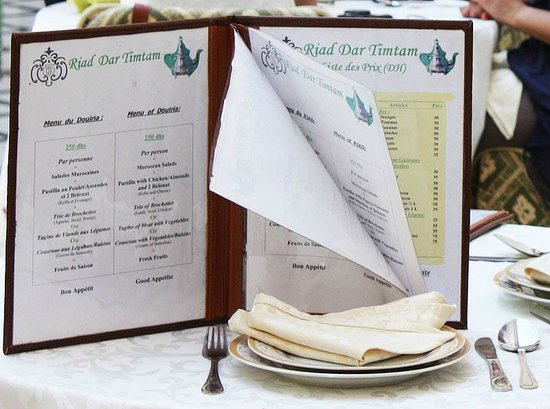 Riad Dar Tim Tam: The menu