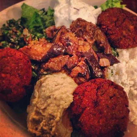 Athenian Garden: Falafel Platter (with roasted eggplant added on top)