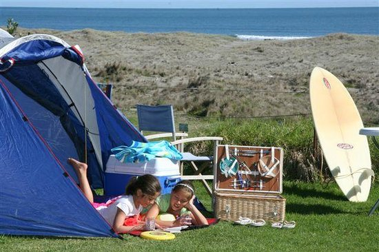 Ohiwa Beach Holiday Park: Camp sites with a view