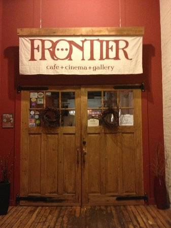 Frontier Cafe: This is the entry door; the cafe is in a renovated warehouse setting.