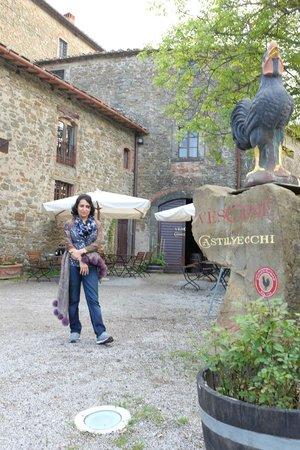 Vini Castelvecchi in Chianti: My mom outside the Winery