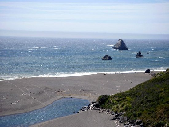 Goat Rock Beaches: end of the beach near the river