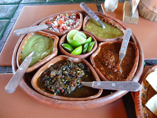 El Fogon: Divine seven pepper salsa (bottom;) very flavourful  and delicious