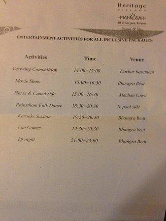 Heritage Village Resort & Spa Manesar: Activity Schedule