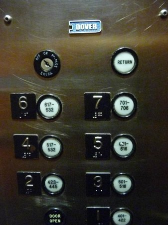 Holiday Inn Fargo : Weird elevator buttons --check your room number to find your floor number button