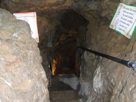 Great Orme Copper Mine: Down to the 2nd level, you are around 60ft below the surface.