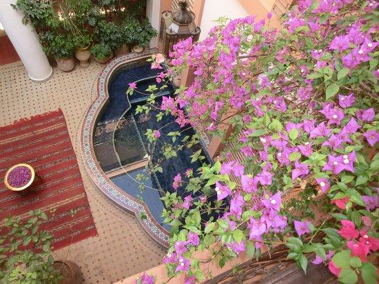 Riad Yamsara: le patio vu de la terasse