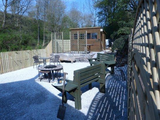 """Tudor House: """"Platform"""" patio area"""