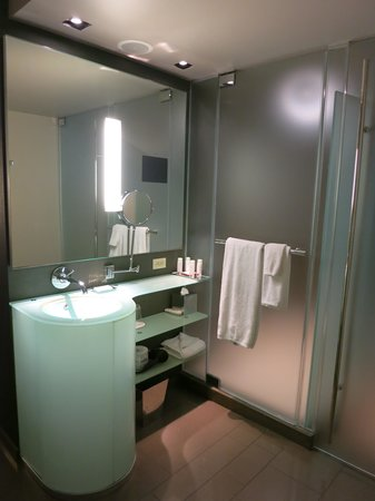 MGM Grand Hotel and Casino: West Wing Room - Shower, Sink & Toilet Area
