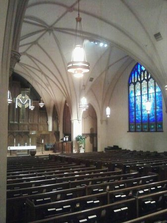 First Presbyterian Church of Flint: Another interior view (notice the stained-glass window)