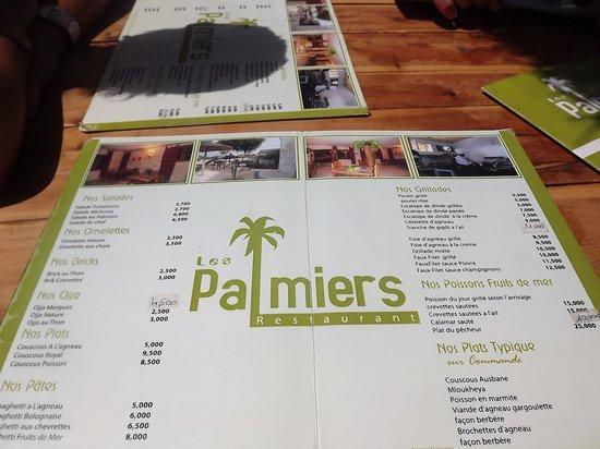 Les Palmiers Chez Neji et Catherine : carte du resto