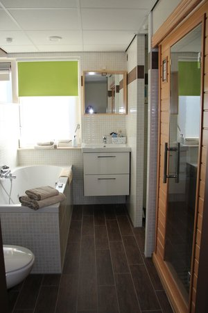 Hotel Kogerstaete: Badkamer van luxe welnesskamer 11 of 17 (met sunshower,whirlpool en infraroodsauna met kleurenth