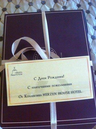 Herzen House Hotel: Поздравление