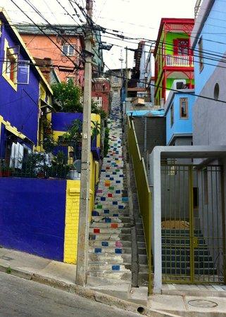 Valparaiso Experience Apartments: Colorful steps up to Valparaiso Experience