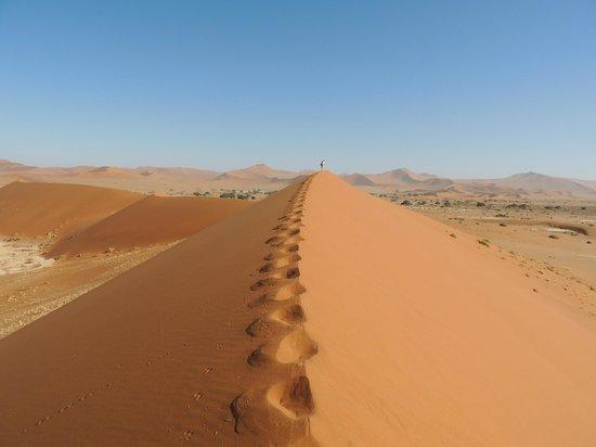 Hoodia Desert Lodge: Climbing a sand dune near Dead Vlei