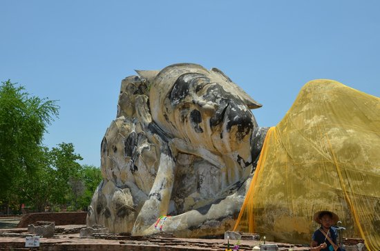 Temple of the Reclining Buddha (Wat Lokayasutharam) : 御顔のアップ